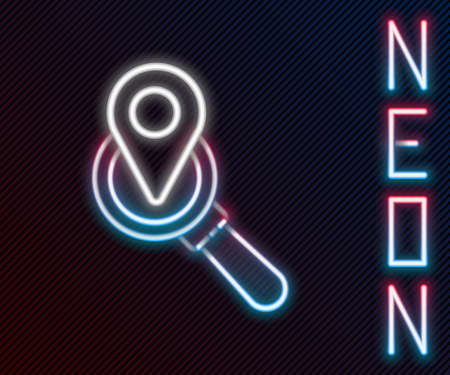 Glowing neon line Search location icon isolated on black background. Magnifying glass with pointer sign. Colorful outline concept. Vector Illustration. Illustration