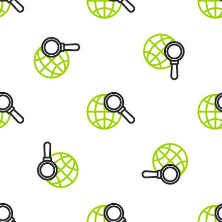 Line Magnifying glass with globe icon isolated seamless pattern on white background. Analyzing the world. Global search sign. Vector Illustration. Illusztráció