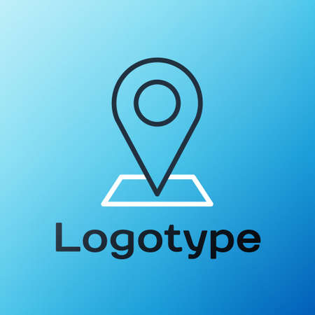 Line Map pin icon isolated on blue background. Navigation, pointer, location, map, gps, direction, place, compass, search concept. Colorful outline concept Vector Illustration Illustration