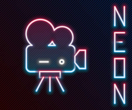 Glowing neon line Retro cinema camera icon isolated on black background. Video camera. Movie sign. Film projector. Colorful outline concept. Vector Illustration. Ilustração