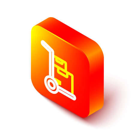 Isometric line Hand truck and boxes icon isolated on white background. Dolly symbol. Orange square button. Vector Illustration.