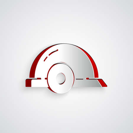 Paper cut Worker safety helmet icon isolated on grey background. Paper art style. Vector Illustration.
