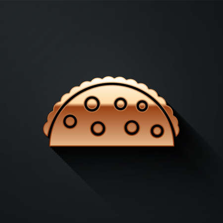 Gold Taco with tortilla icon isolated on black background. Traditional mexican fast food menu. Long shadow style. Vector Illustration.