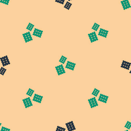 Green and black Cracker biscuit icon isolated seamless pattern on beige background. Sweet cookie. Vector Illustration.