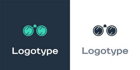 Logotype Binoculars icon isolated on white background. Find software sign. Spy equipment symbol.