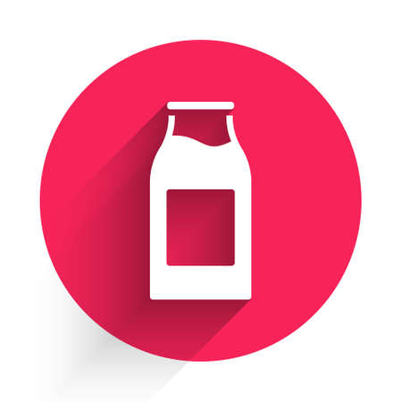 White Closed glass bottle with milk icon isolated with long shadow. Red circle button. Vector Illustration. Ilustração