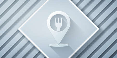 Paper cut Cafe and restaurant location icon isolated on grey background. Fork and spoon eatery sign inside pinpoint. Paper art style. Vector Illustration.. Illustration