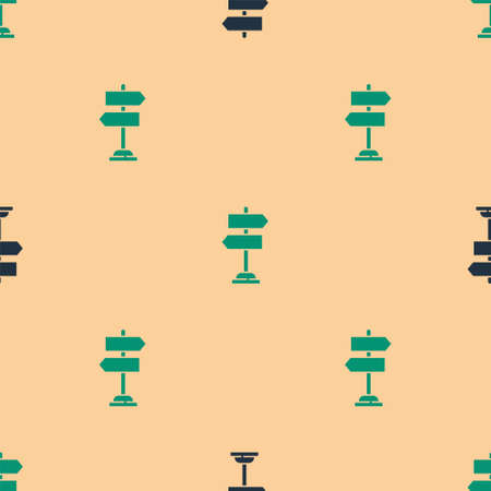 Green and black Road traffic sign. Signpost icon isolated seamless pattern on beige background. Pointer symbol. Isolated street information sign. Direction sign. Vector Illustration.