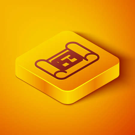Isometric line House plan icon isolated on orange background. Yellow square button. Vector Illustration.