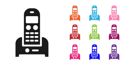 Black Telephone icon isolated on white background. Landline phone. Set icons colorful. Vector Illustration.