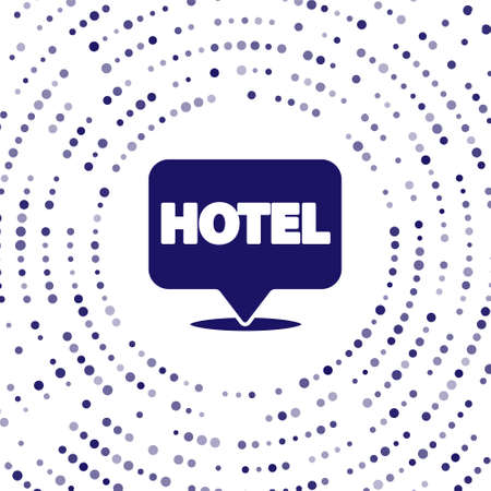 Blue Location hotel icon isolated on white background. Concept symbol for hotel, hostel, travel, housing rent, real estate. Abstract circle random dots. Vector Illustration.