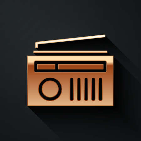 Gold Radio with antenna icon isolated on black background. Long shadow style. Vector Illustration.