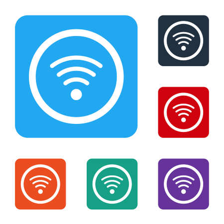 White WiFi wireless internet network symbol icon isolated on white background. Set icons in color square buttons. Vector Illustration. Vectores