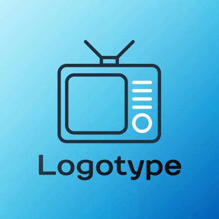 Line Retro tv icon isolated on blue background. Television sign. Colorful outline concept. Vector Illustration.