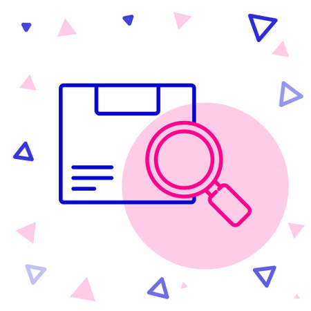 Line Search package icon isolated on white background. Parcel tracking. Magnifying glass and cardboard box. Logistic and delivery. Colorful outline concept. Vector Illustration.