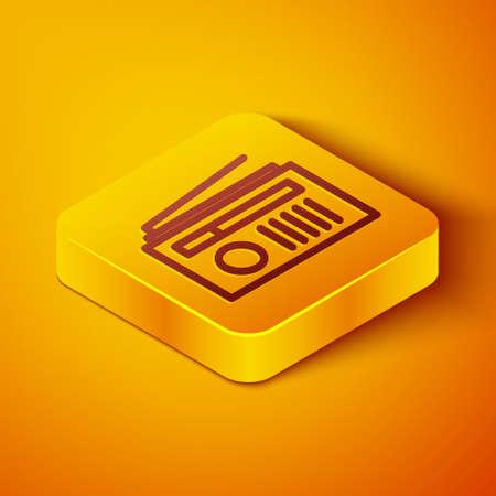 Isometric line Radio with antenna icon isolated on orange background. Yellow square button. Vector Illustration. Ilustração
