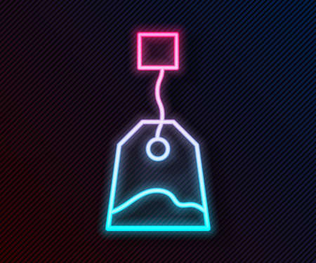 Glowing neon line Tea bag icon isolated on black background. Vector Illustration.