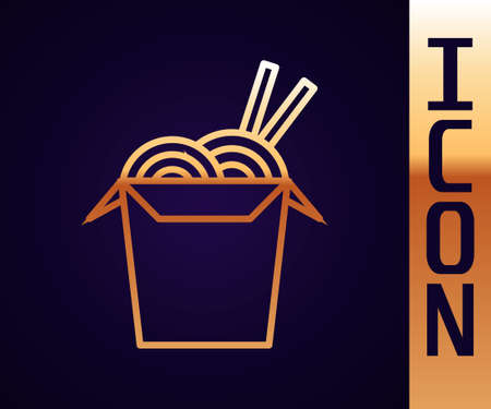 Gold line Asian noodles in paper box and chopsticks icon isolated on black background. Street fast food. Korean, Japanese, Chinese food. Vector Illustration.