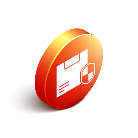 Isometric Delivery security with shield icon isolated on white background. Delivery insurance. Insured cardboard boxes beyond the shield. Orange circle button. Vector Illustration