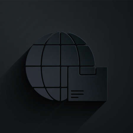Paper cut Worldwide shipping and cardboard box icon isolated on black background. Paper art style. Vector Illustration