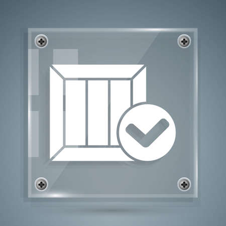 White Wooden box with check mark icon isolated on grey background. Parcel box. Approved delivery or successful package receipt. Square glass panels. Vector Illustration 向量圖像