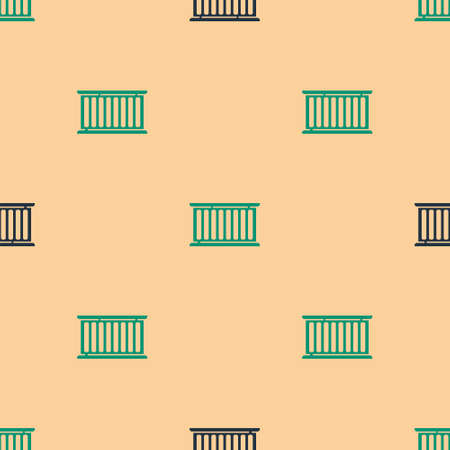 Green and black Container icon isolated seamless pattern on beige background. Crane lifts a container with cargo. Vector Illustration.