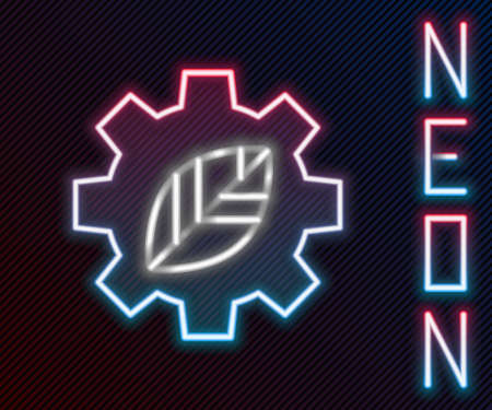 Glowing neon line Leaf plant ecology in gear machine icon isolated on black background. Eco friendly technology. World Environment day label. Colorful outline concept. Vector Illustration 向量圖像