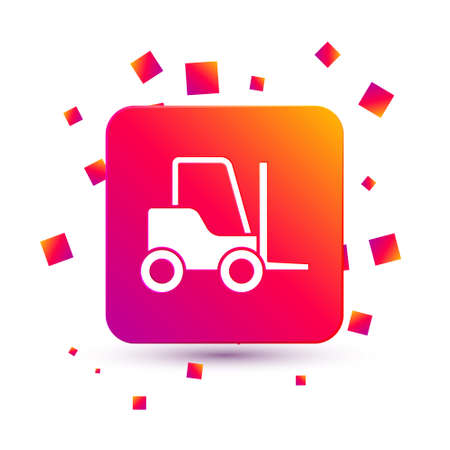 White Forklift truck icon isolated on white background. Fork loader and cardboard box. Cargo delivery, shipping, transportation. Square color button. Vector Illustration 向量圖像