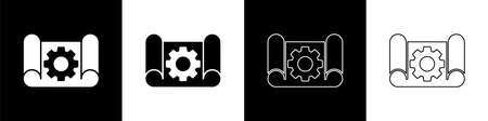 Set Graphing paper for engineering and gear icon isolated on black and white background. Vector Illustration Ilustrace