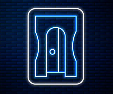Glowing neon line Pencil sharpener icon isolated on brick wall background. Vector Illustration