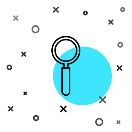 Black line Magnifying glass icon isolated on white background. Search, focus, zoom, business symbol. Random dynamic shapes. Vector Illustration Illusztráció