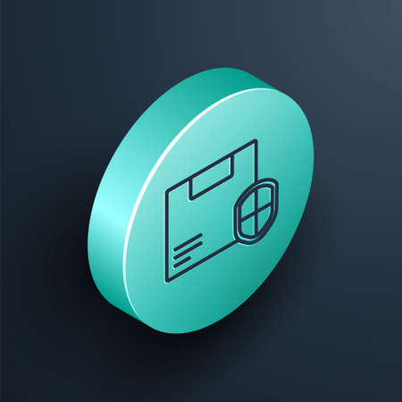 Isometric line Delivery security with shield icon isolated on black background. Delivery insurance. Insured cardboard boxes beyond the shield. Turquoise circle button. Vector Illustration