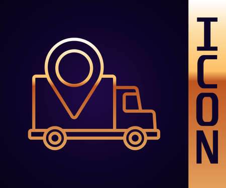 Gold line Delivery tracking icon isolated on black background. Parcel tracking. Vector Illustration 向量圖像