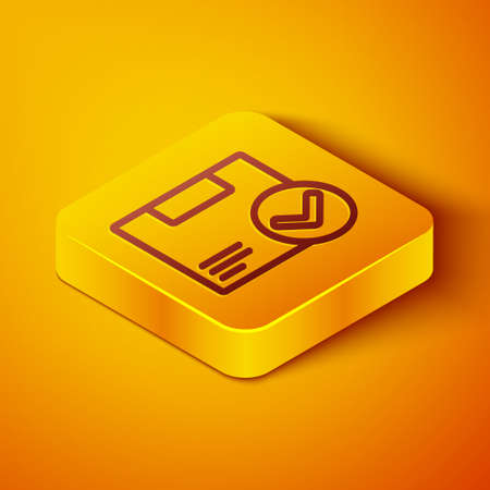 Isometric line Package box with check mark icon isolated on orange background. Parcel box. Approved delivery or successful package receipt. Yellow square button. Vector Illustration