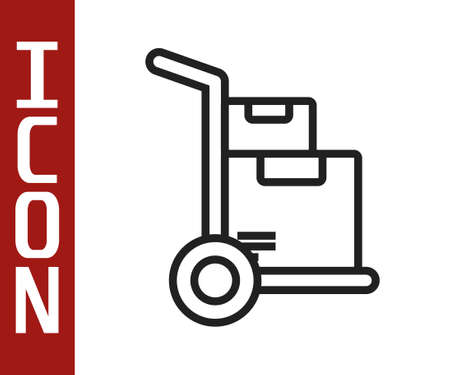 Black line Hand truck and boxes icon isolated on white background. Dolly symbol. Vector Illustration 向量圖像