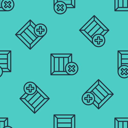 Black line Wooden box and delete icon isolated seamless pattern on green background. Box, package, parcel sign. Delivery and packaging. Vector Illustration 向量圖像
