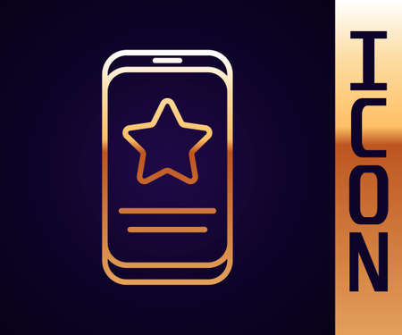 Gold line Mobile phone with review rating icon isolated on black background. Concept of testimonials messages, notifications, feedback. Vector Illustration