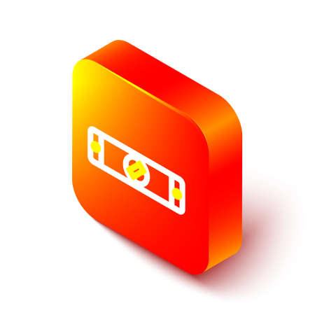 Isometric line Construction bubble level icon isolated on white background. Waterpas, measuring instrument, measuring equipment. Orange square button. Vector Illustration