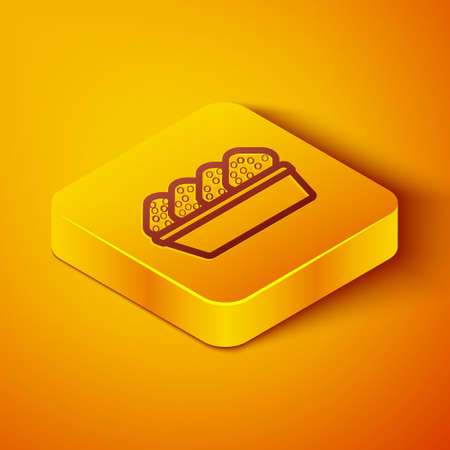 Isometric line Chicken nuggets in box icon isolated on orange background. Yellow square button. Vector Illustration
