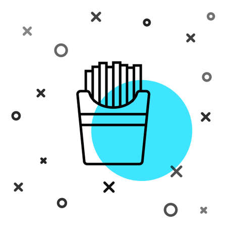 Black line Potatoes french fries in carton package box icon isolated on white background. Fast food menu. Random dynamic shapes. Vector Illustration