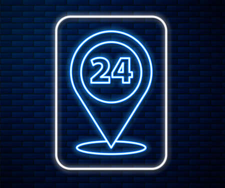 Glowing neon line Round the clock delivery icon isolated on brick wall background. Vector Illustration