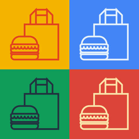 Pop art line Online ordering and burger delivery icon isolated on color background. Vector Illustration. 向量圖像