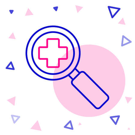 Line Magnifying glass for search medical icon isolated on white background. Hospital search. Colorful outline concept. Vector Illustration.