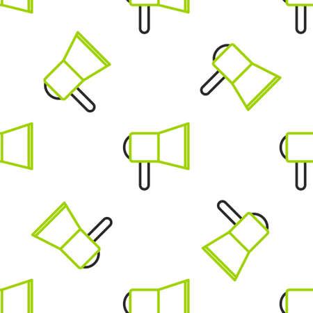 Line Megaphone icon isolated seamless pattern on white background. Speaker sign.  Vector Illustration.