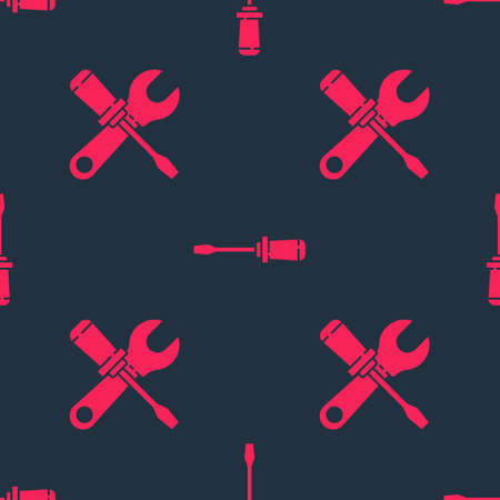 Set Screwdriver and wrench spanner and Screwdriver on seamless pattern. Vector. Stock Illustratie