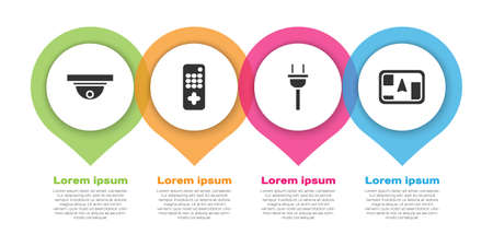 Set Motion sensor, Remote control, Electric plug and Gps device with map. Business infographic template. Vector.