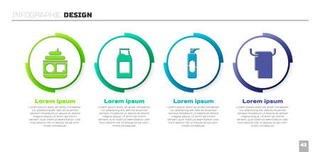 Set Cream or lotion cosmetic tube, Bottle with milk, Spray can for hairspray and Towel on a hanger. Business infographic template. Vector
