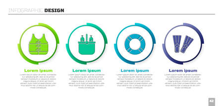 Set Life jacket, Cooler bag and water, Lifebuoy and Rubber flippers. Business infographic template. Vector.