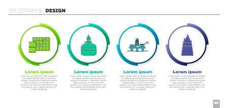 Set Oil price increase, Alcohol or spirit burner, Oil platform in the sea and Oil rig with fire. Business infographic template. Vector.