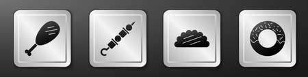 Set Chicken leg, Grilled shish kebab, Taco with tortilla and Donut icon. Silver square button. Vector. 일러스트